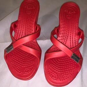 Crocs wedge sandals size- w9